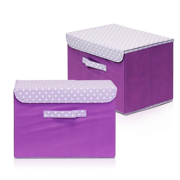 Non-Woven Fabric Purple Storage Bin with Lid (2-Pack)