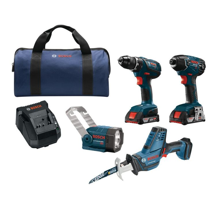 Bosch 18-Volt Lithium-Ion Cordless Drill/Driver, Recip Saw, Impact Driver and Flashlight Power Tool Combo Kit (4-Tool)
