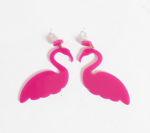 Flamingo by Last Clothing. single layer laser cutted acrylic accessory to form flamingo shape. Waterproof and light weight material made it comfortable to wear. Earring dimension 5cm x 5cm. Flamingo shape earrings with pink color  will brighten you day. http://zocko.it/LES0I