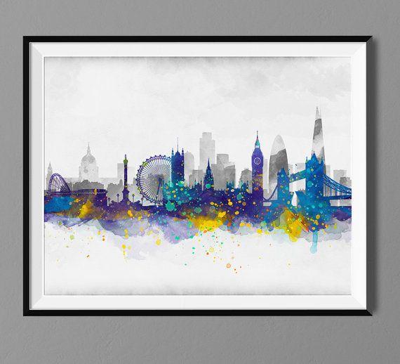 London Skyline  Aquarell Kunstdruck Poster  von Macanaz auf Etsy