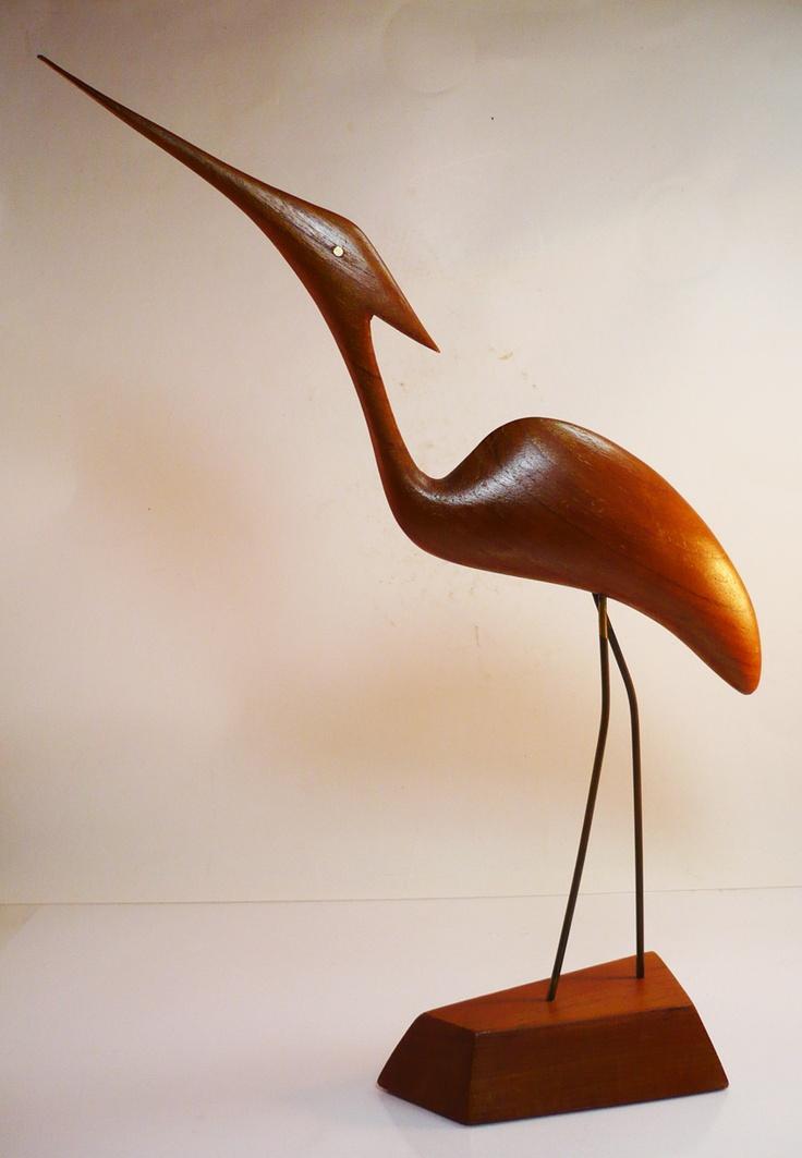 Wooden heron - huge and original!