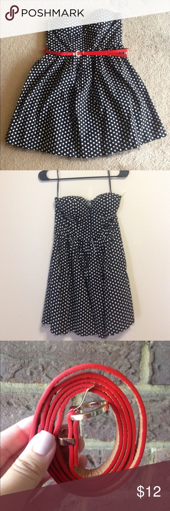 Polka dot dress Forever 21 Pretty and classic black-and-white polka dot dress. Very lightly worn and comes with eye catching red belt! Strapless with silicone lining that prevents it from budging! Perfect for an adorable summer night out :) Forever 21 Dresses Strapless