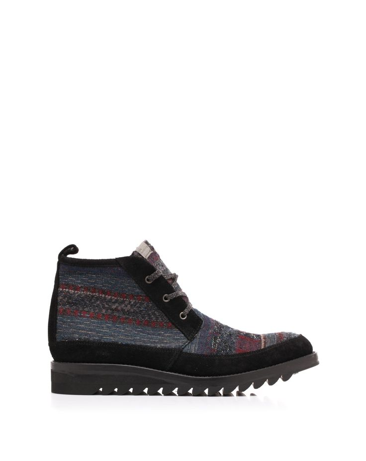 Ethnic jaquard fabric mountaineering boots with rubber sole by White Mountaineering