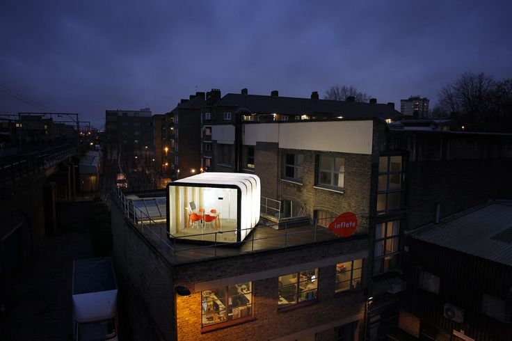 A 4m AirClad Xpo being used as a rooftop office space in London.