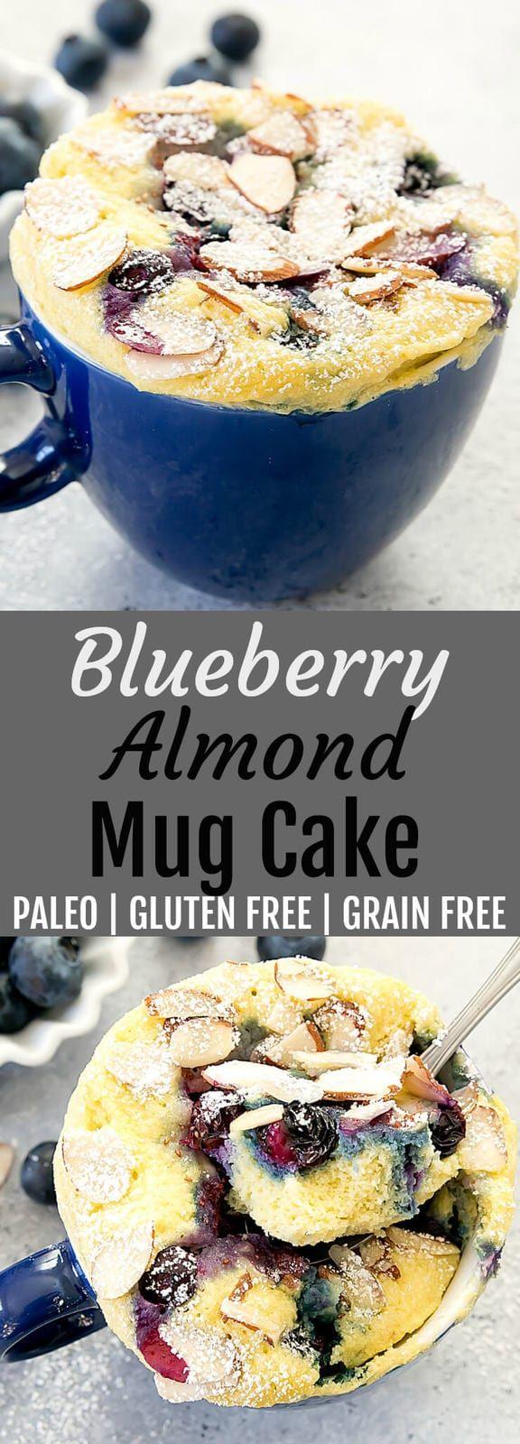 Blueberry Almond Mug Cake. Gluten free, wheat flour free and paleo. This fluffy …