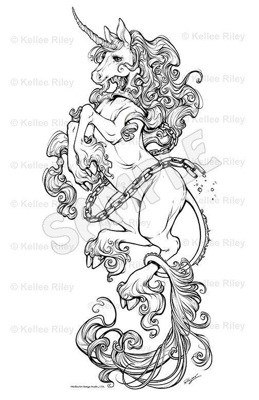 unicorn adult coloring pages - Art Nouveau Unicorn Coloring Pages