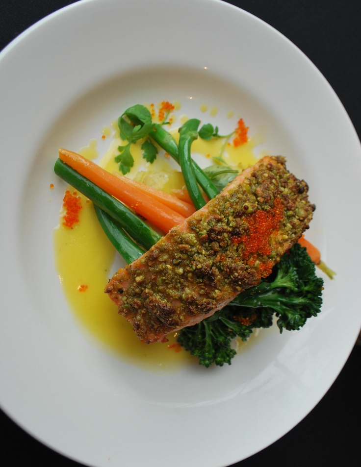Seared Salmon with pistachio crust, flying fish roe and lime butter sauce