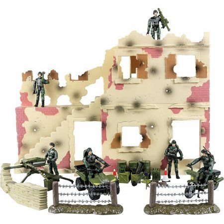 Click N' Play Urban Warfare Battlefield Military Action Figure 43 Piece Playset With Accessories