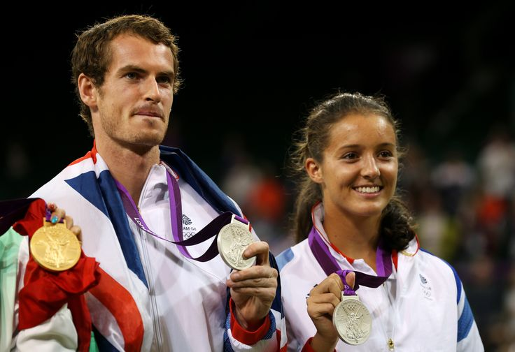 Andy Murray and Laura Robson with their silver medals in the mixed double tennis competition. Andy Murray also won gold in the men's singles competition at the London 2012 Olympic Games.