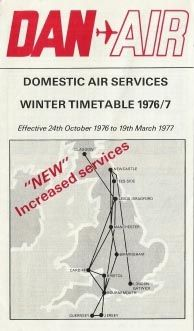Dan-Air domestic timetable winter 1976-7