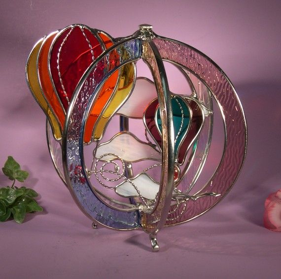 Stained Glass Whirl Hot Air Balloons with by StainedGlassbyWalter, $79.95