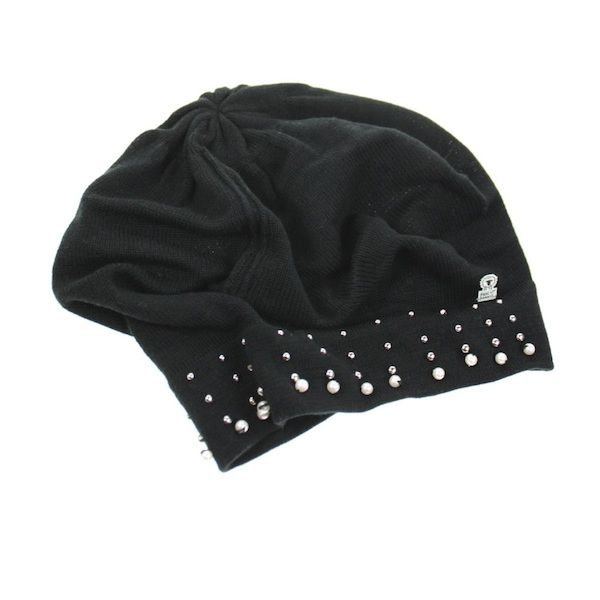 Nordic Black Cotton Beret With Pearl Detailing - White Apple Gifts
