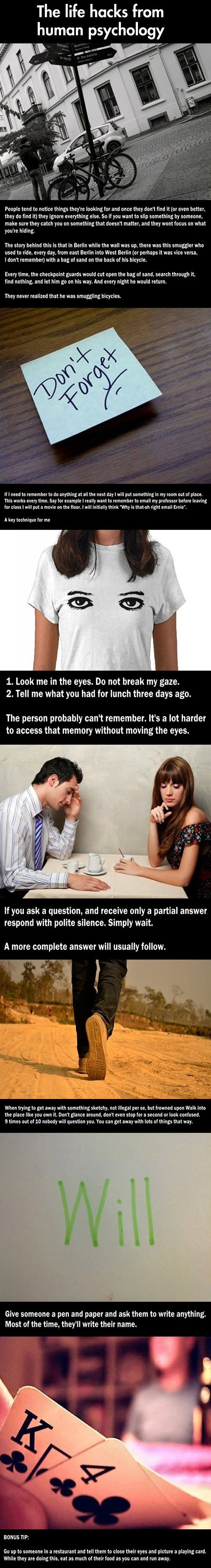Cool life hacks: Human psychology version...