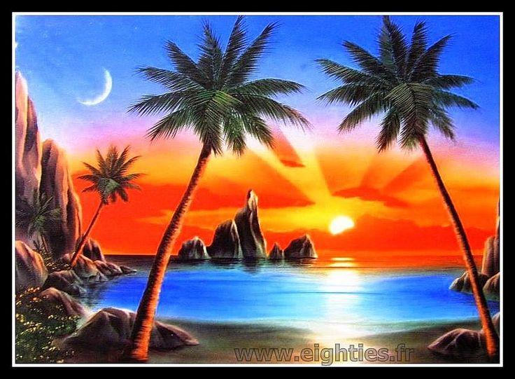 Fotographica poster coucher de soleil annees 80 kitsh - Dessin coucher de soleil ...