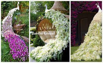 Цветочное оформление сада.  Потрясающая скульптура в форме павлина наполнит любой  сад очарованием и грациозностью.  #JardinGenial #ландшафтный_дизайн  #Озеленение #Освещение #Полив #Постройки_на_участке