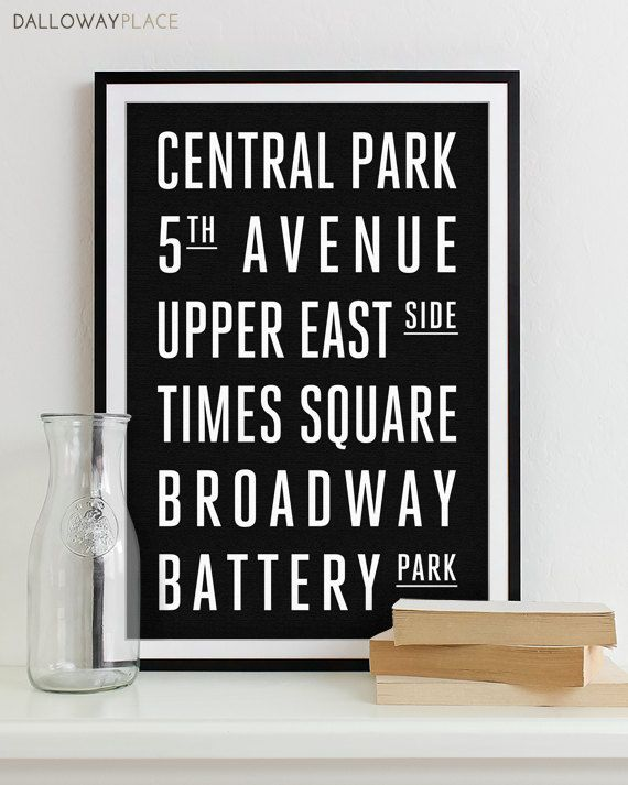 New York Subway Sign Art Subway Print Bus Roll City Poster - Modern Home Decor 12x18