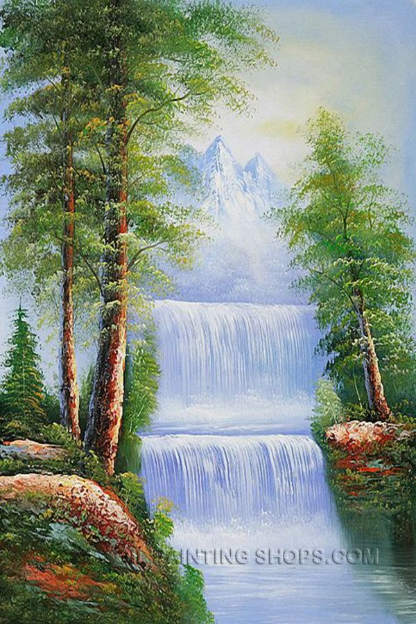 Easy Landscape Painting Ideas For Beginners Easy Landscape Paintings Watercolor Landscape Paintings Waterfall Paintings