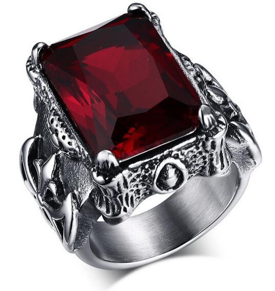 Mode Retro Ruby Sieraden Rvs 316l Met Imitatie Edelsteen Ringen Voor Mannen Natuursteen Sieraden Heren Ringen Anel