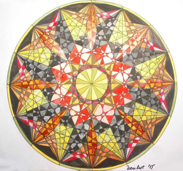 Mandala 1 [Black liner and watercolor on paper - A4] https://www.facebook.com/ZenArtDraw/