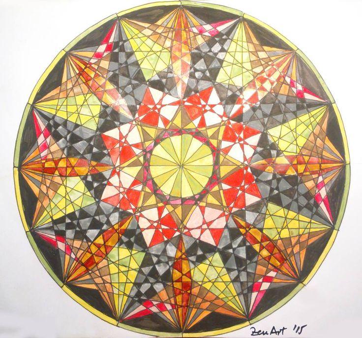 Mandala 1 [Black liner and watercolor on paper - A4] https://www.facebook.com/ZenArtDraw/