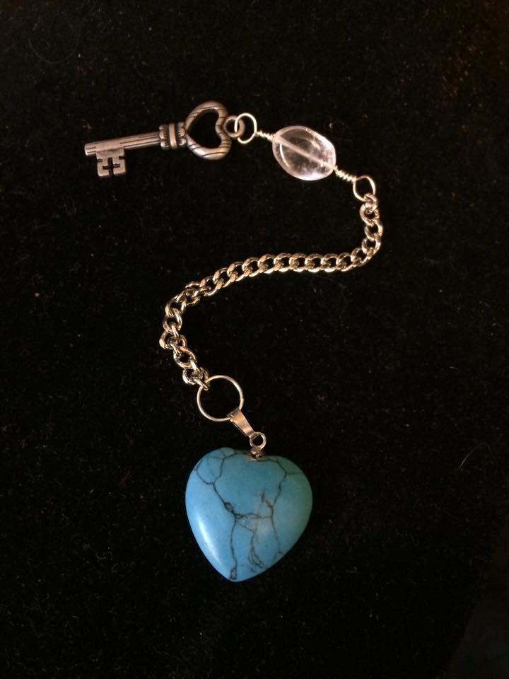 Pendulum with Howlite Heart, Quartz and Charm Embellishments by WyrdWytchWayz on Etsy