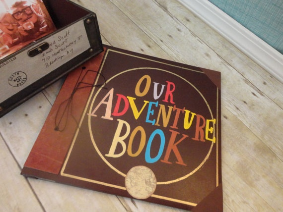 My Adventure Book Replica. Pixar's Up Movie. Faux leather cover. Colorful letters. Globe. Scrapbook album. Post bound. Gold. hand painted. Handmade paper.