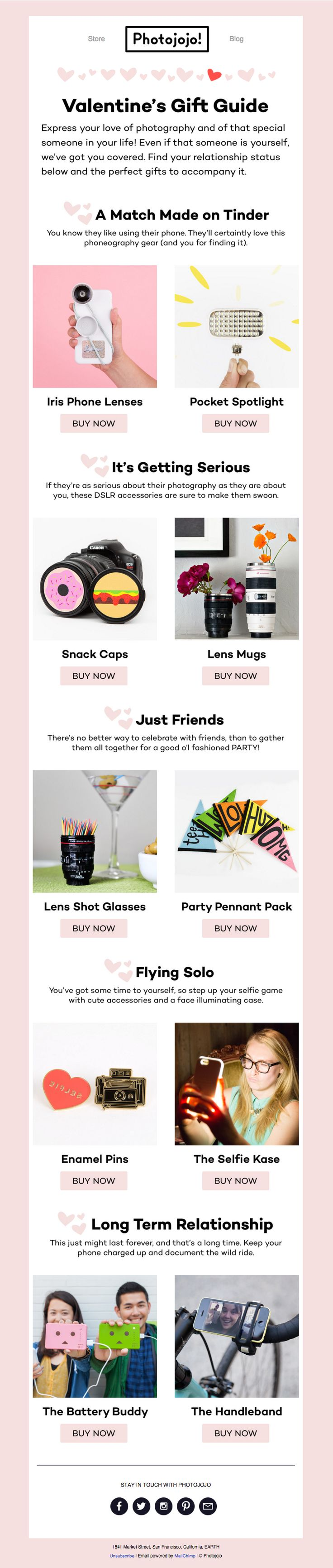 Well-designed Valentine's Day email from Photojojo - nice design on a grid! See more great Valentine's Day emails here: http://emaildesign.beefree.io/2016/02/inspiration-for-valentines-day-emails/
