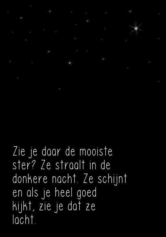 Kaart gedicht Mooiste ster. Gedicht op ansichtkaart. Zie je daar de mooiste ster? Perfect voor boven een kinderbedje!