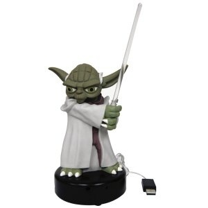 USB Talking Yoda Desk Protector - Dedicated to peaceful resolution to any sticky situation Yoda is called into action any time his motion sensor detects movement. He reacts by igniting his lightsaber and uttering one the phrases below in a way that only he can. Great for Star Wars fans