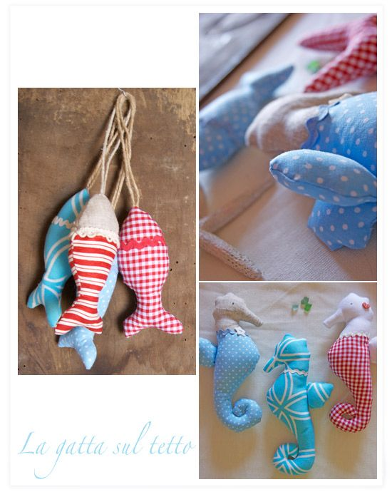 fabric fish and seahorse maybe this could be an idea for an embellishment of some type.