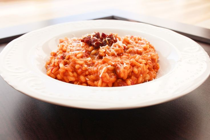 Tomato risotto with chorizo http://www.onekitchenblog.com/?p=1095