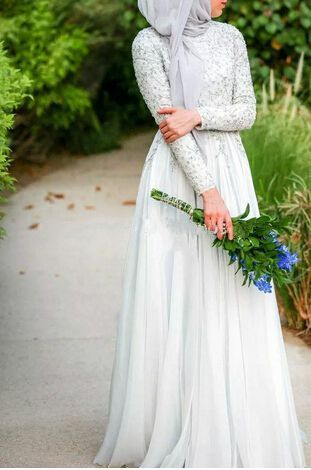 Discount Silver Chiffon Heavy Beaded High Neck Long Sleeve A-Line Floor Length Hijab Muslim Wedding Dress 2016 From Trustful Online Seller Easebuydress