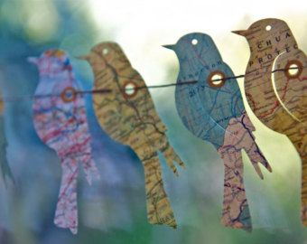 Girlande Papier-Girlande Vogel Welt Landkarte Reisen von LaMiaCasa