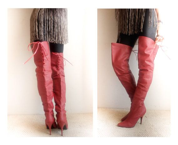 Vintage Unique Extreme Red overknee by VintageVanillaShop on Etsy