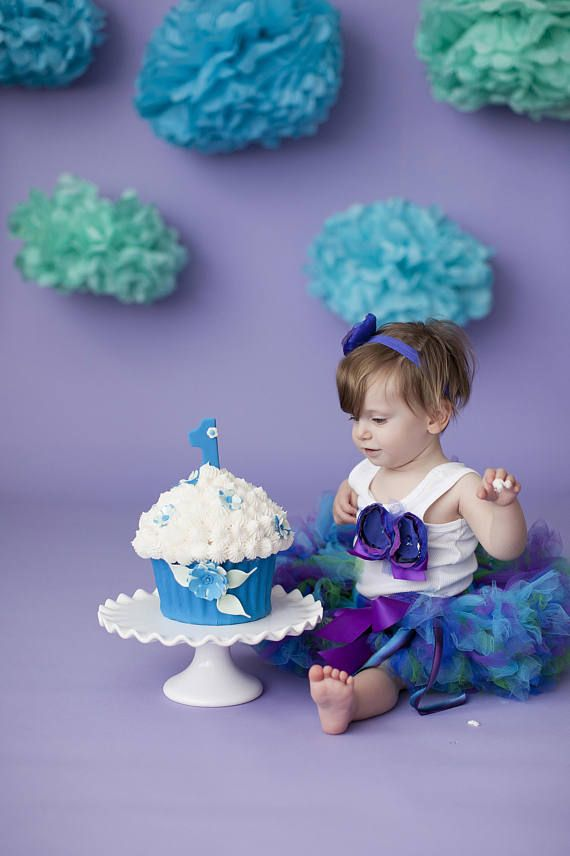 Baby Girls Blue 1st One Birthday Dress Outfit Cake Smash Photo Shoot Costume