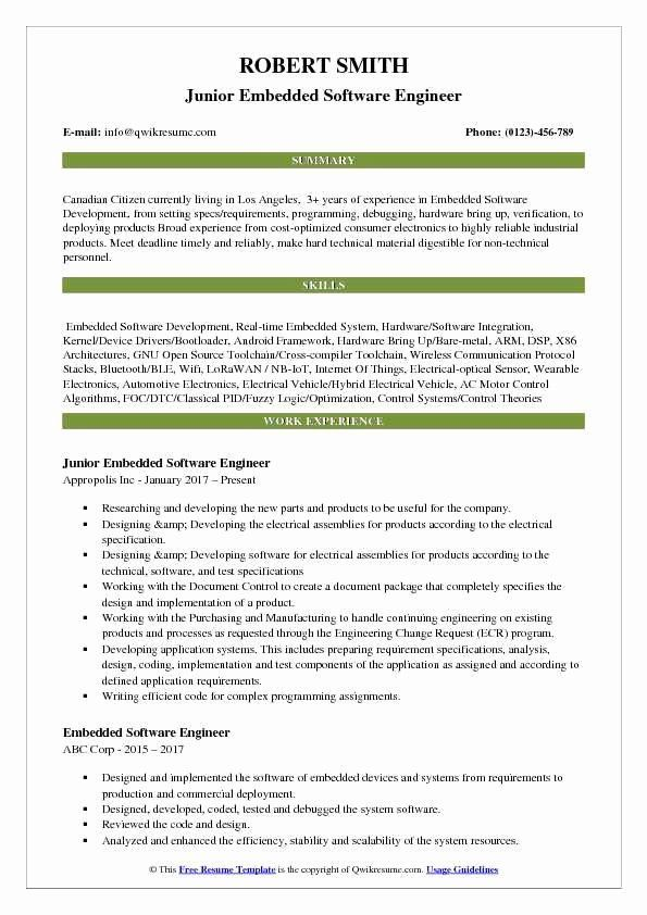 Junior Software Engineer Resume Awesome Embedded Software Engineer Resume Samples Softwareengineer Junior Software E Software Engineer Resume What Is Software