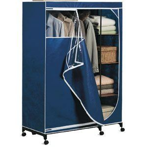 Blue Portable Wardrobe Armoire   Organize It All