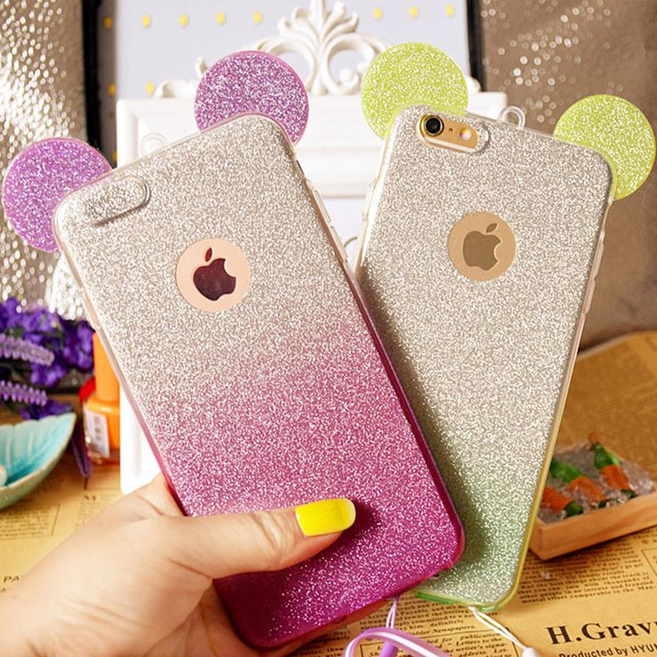 3D Minnie Mickey Mouse Ears silicone Glitter Gradient Case for iPhone 4 4S 5 5S 6 6S 7 Plus Case Cover phone cases >>> You can get additional details at the image link.