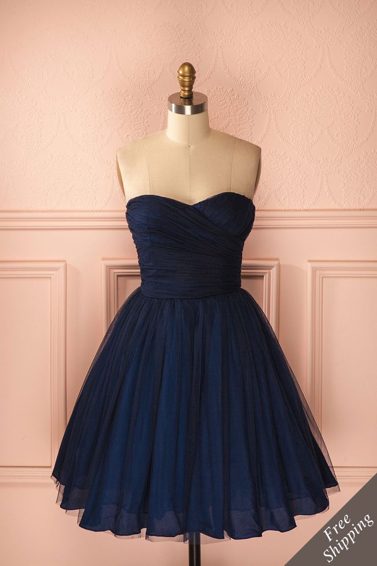 Robe bustier bleu marine en tulle sans manches - Navy blue tulle sleeveless dress