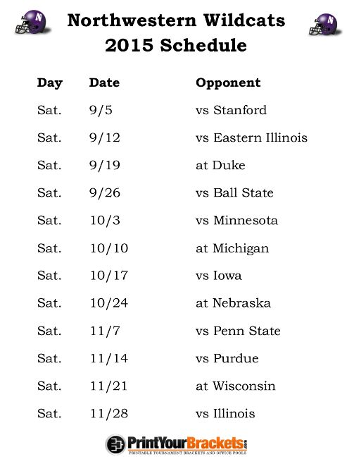 Printable Northwestern Wildcats Football Schedule 2015