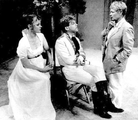 "1988 - Samantha Bond & Kenneth Brannagh talking to director Judi Dench in Renaissance Theatre Company's ""Much Ado"""