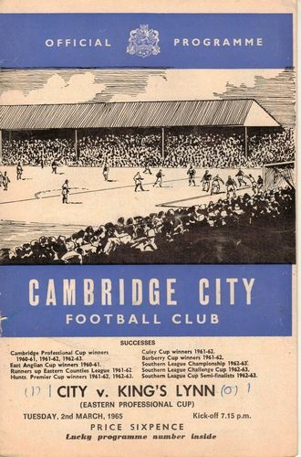 Cambridge City v Kings Lynn Eastern Professional Cup 2nd March 1965