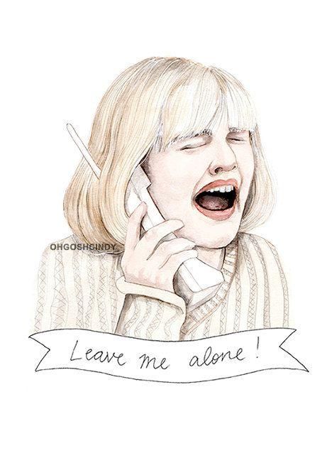 Scream Drew Barrymore illustration portrait PRINT by ohgoshCindy