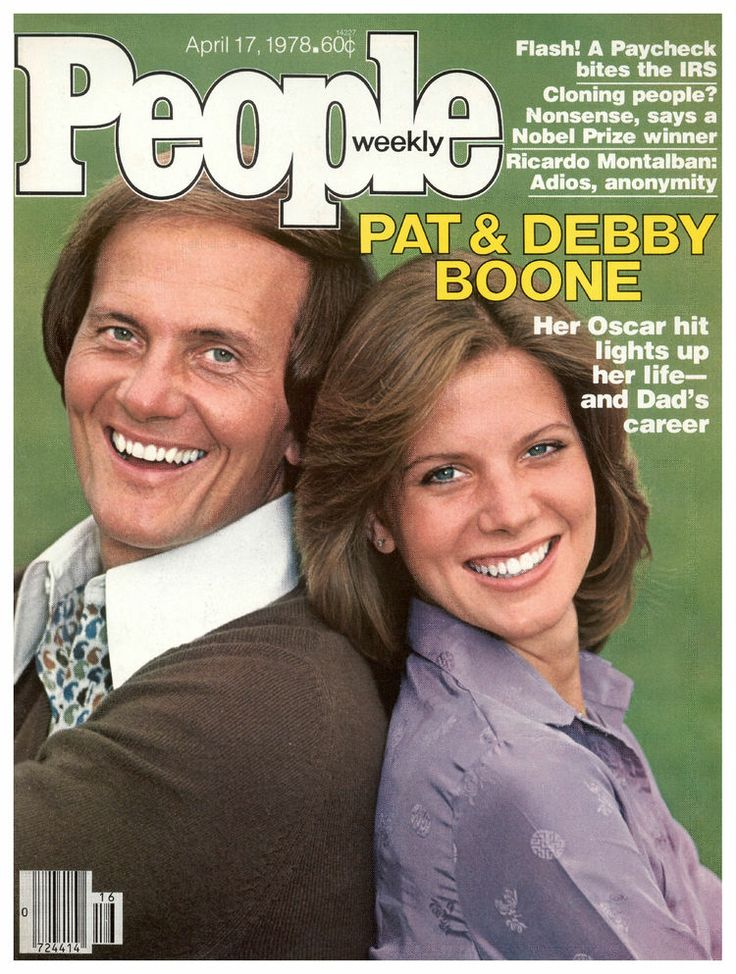 "Vintage People Magazine Pat & Debby Boone April 17 1978  Date Published: April 17, 1978 Cover Feature Photo: Pat & Debby Boone  COVER STORY Pat and Debby Show Debby Boone's Career 'Light's Up"" with an Oscar Nod, No. 1 Hit, and a Headliner in Vegas with Dad."
