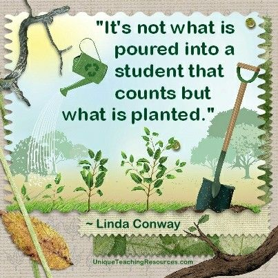 """It's not what is poured into a student that counts but what is planted.""  ~ Linda Conway  (Download a FREE one page poster for this quote on:  http://www.uniqueteachingresources.com/Quotes-About-Learning.html)"