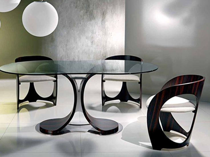 Dining Room: Amazing Dining Room Design With Glass Oval Tables And Unique  Chairs Also Using Floor Tiles, Retro Dining Tables And Chairs, Beautiful  Dining ...