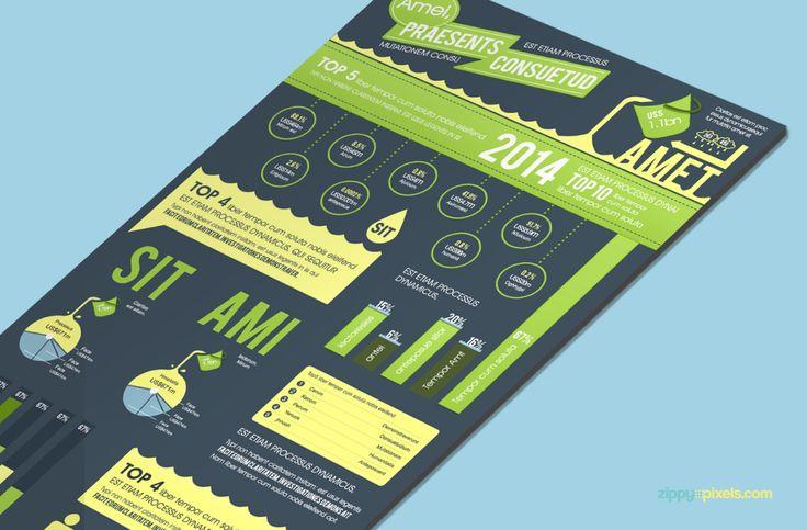 Free PSD: Aqua Theme Infographics Template