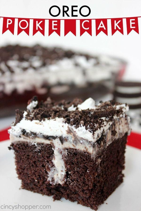 Oreo Poke Cake Recipe- Perfect summer picnic cake idea. So delish!