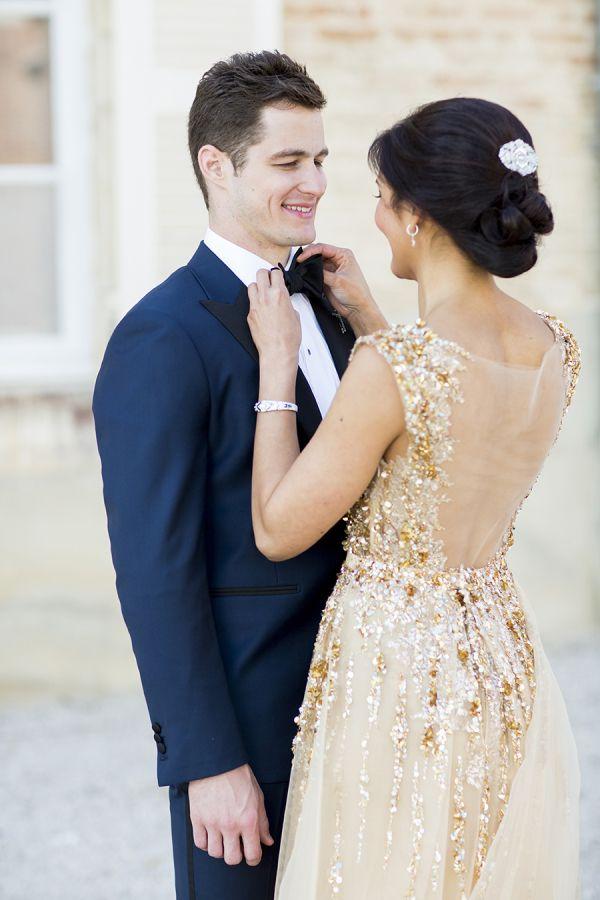 Modern Gatsby Inspired French Wedding Sparkly Gold Dress