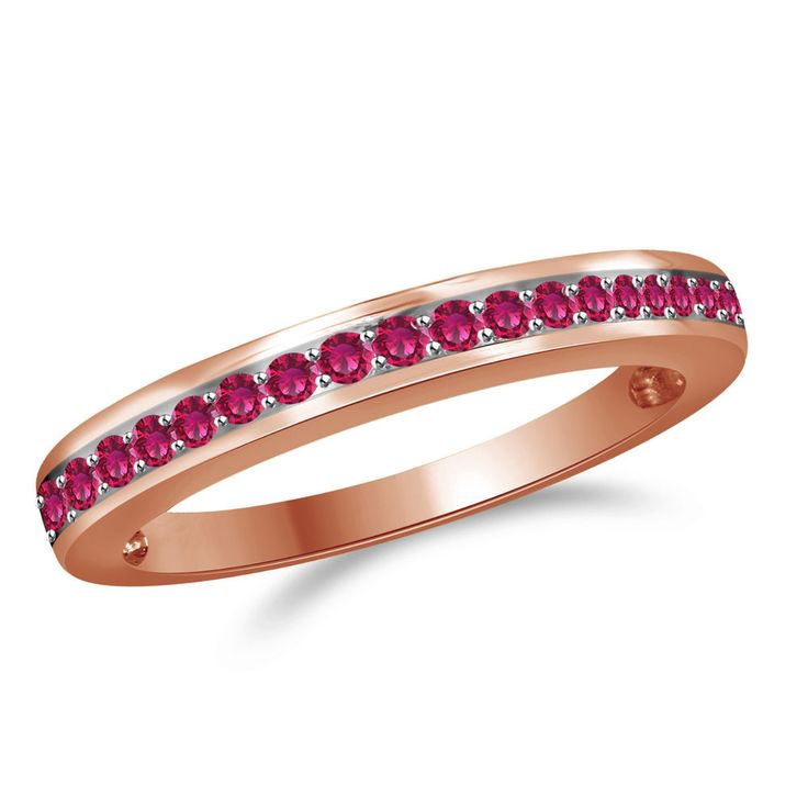 0.33ct Round Cut Pink Sapphire Rose Gold Anniversary Band Ring + Black Diamond #Findingsnjewelry #AnniversaryBand